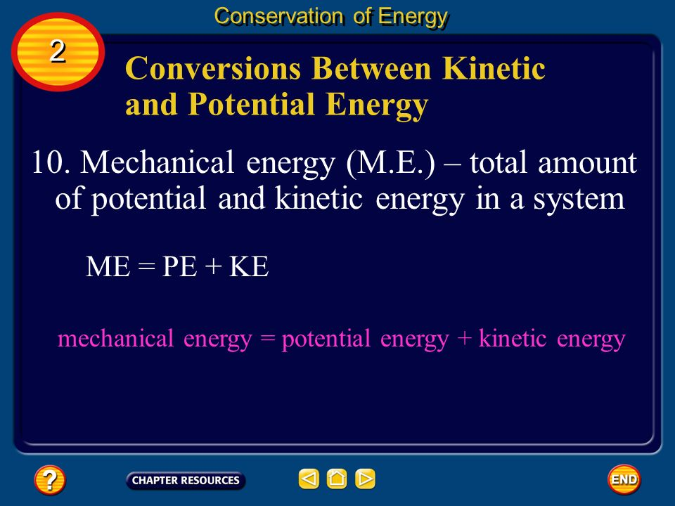 Conversions Between Kinetic and Potential Energy