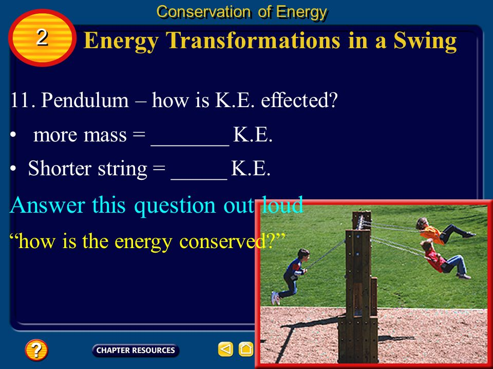 Energy Transformations in a Swing