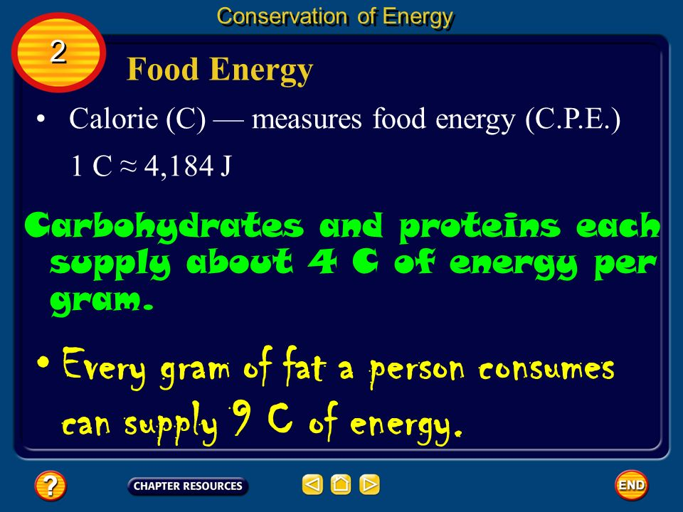 Every gram of fat a person consumes can supply 9 C of energy.