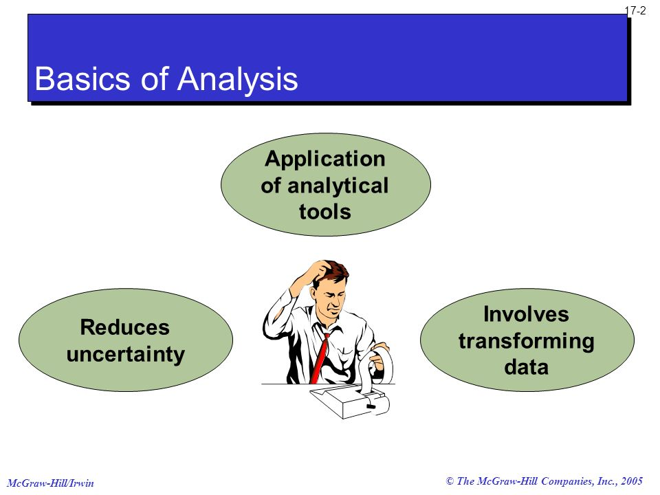 Application of analytical tools Involves transforming data