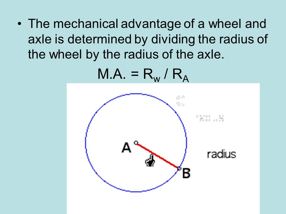 The mechanical advantage of a wheel and axle is determined by dividing the radius of the wheel by the radius of the axle.