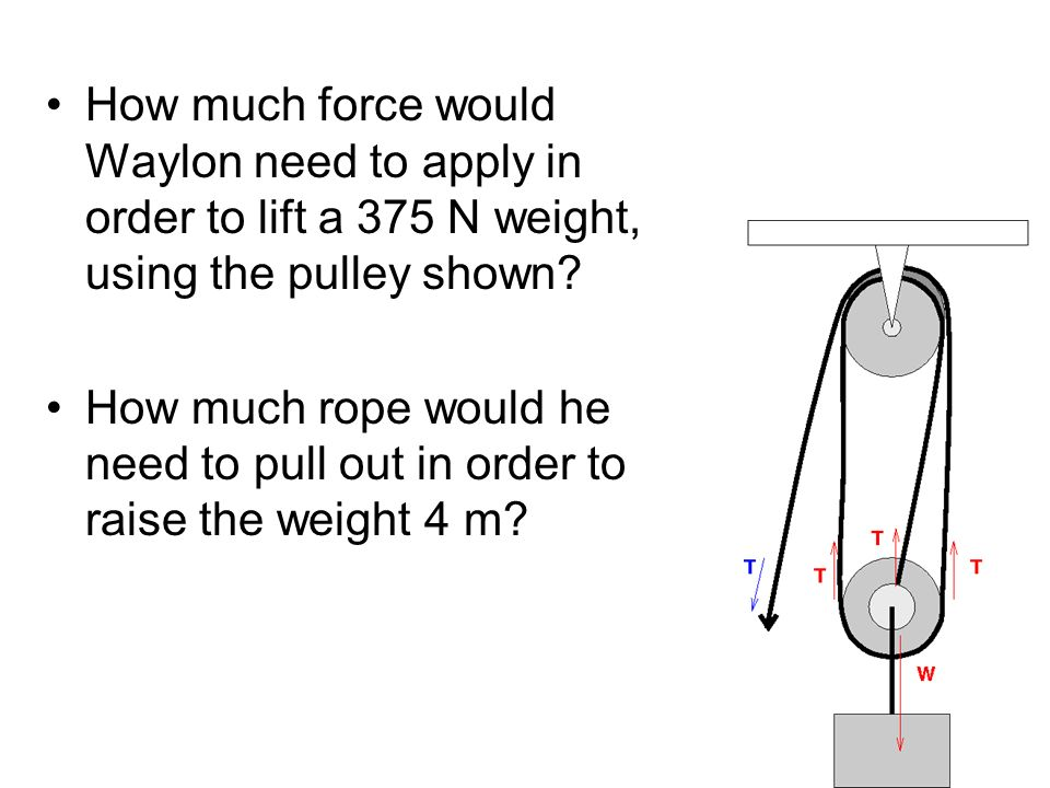 How much force would Waylon need to apply in order to lift a 375 N weight, using the pulley shown