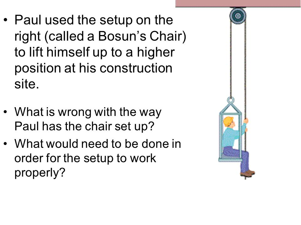 Paul used the setup on the right (called a Bosun's Chair) to lift himself up to a higher position at his construction site.