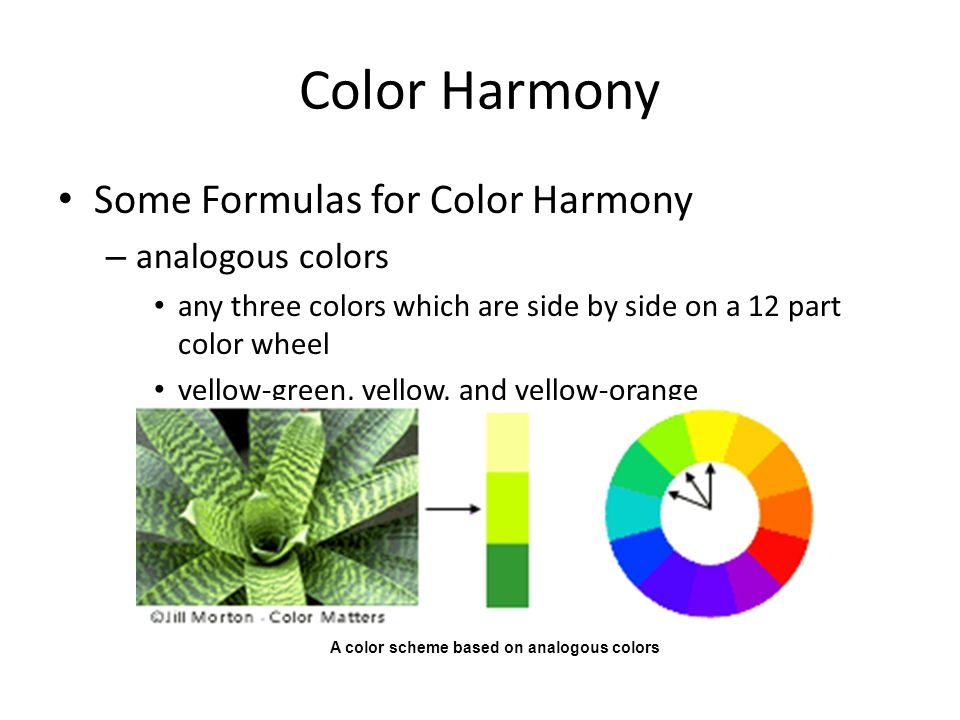 Color Harmony Some Formulas for Color Harmony analogous colors