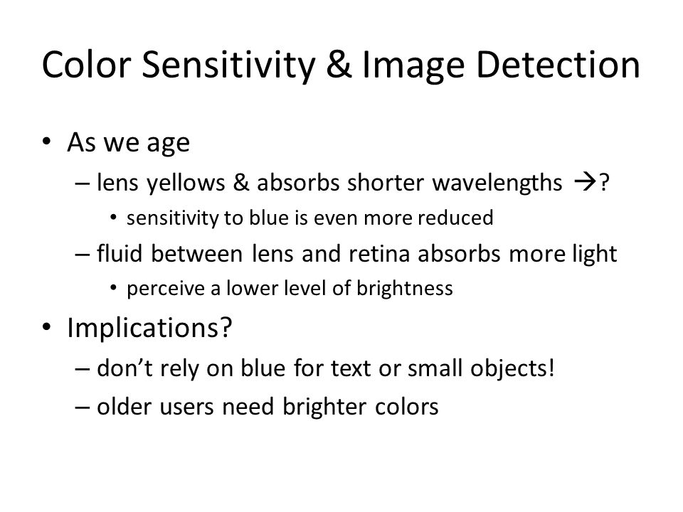 Color Sensitivity & Image Detection
