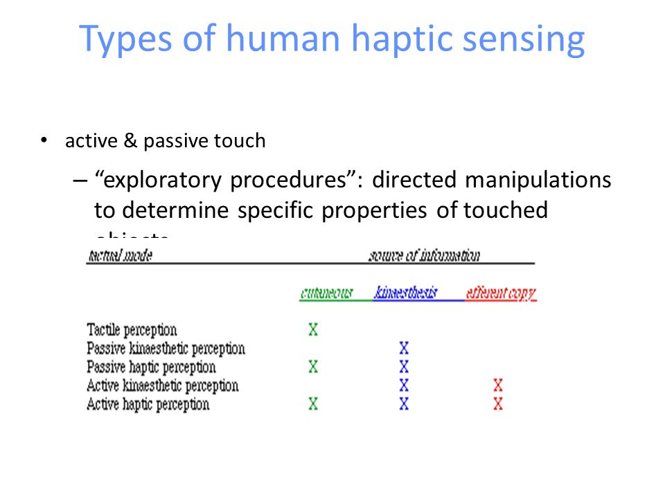 Types of human haptic sensing
