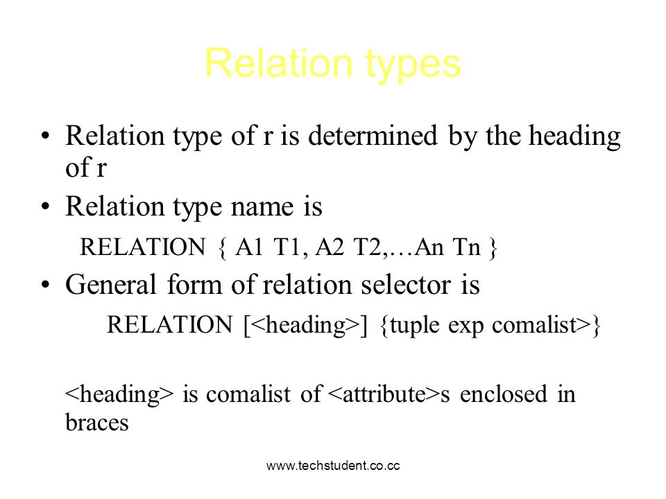 Relation types Relation type of r is determined by the heading of r