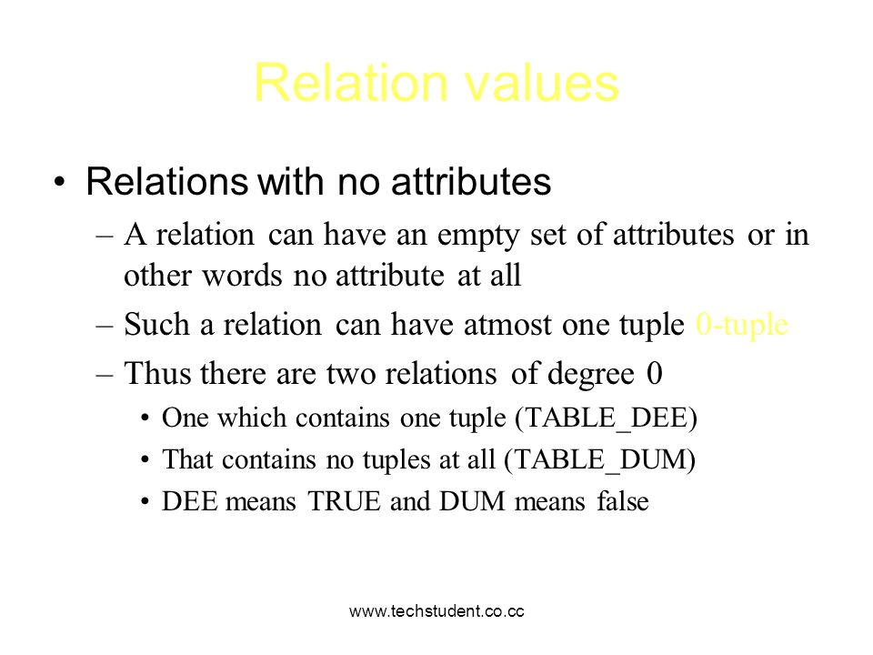 Relation values Relations with no attributes