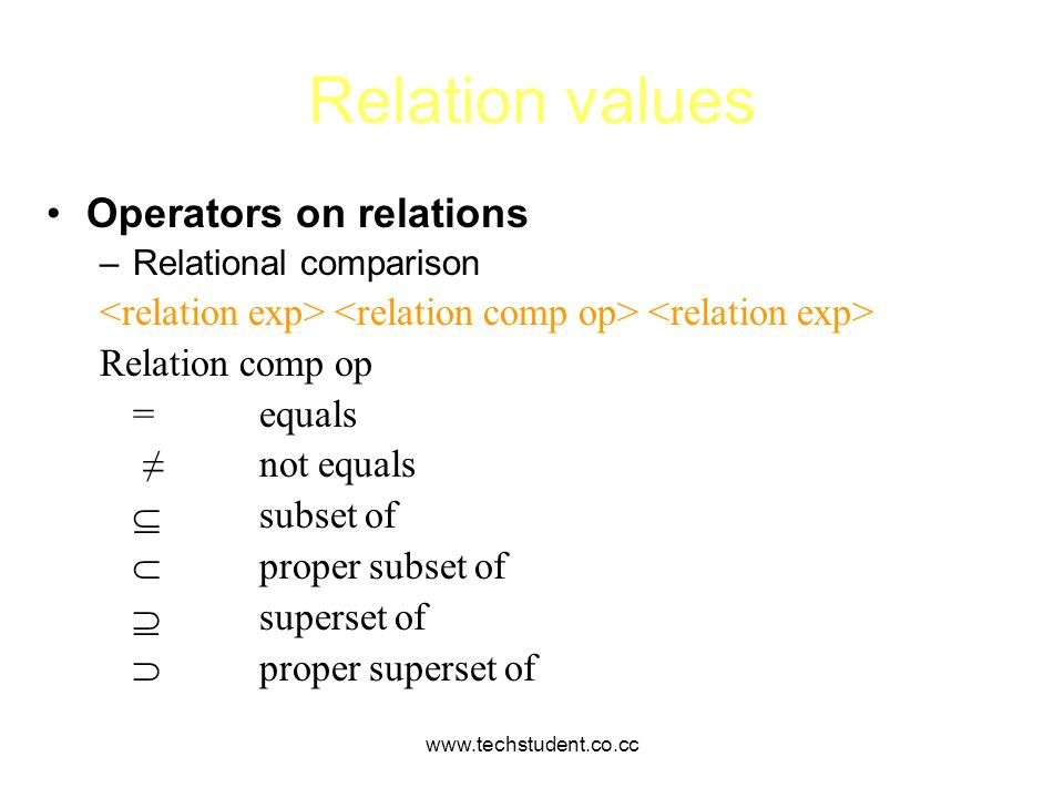 Relation values Operators on relations