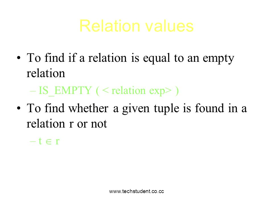 Relation values To find if a relation is equal to an empty relation