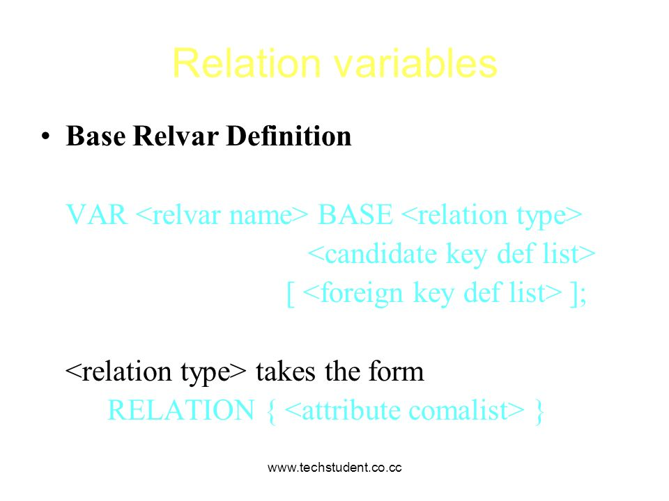 Relation variables Base Relvar Definition