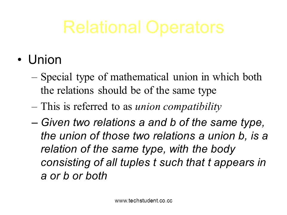 Relational Operators Union