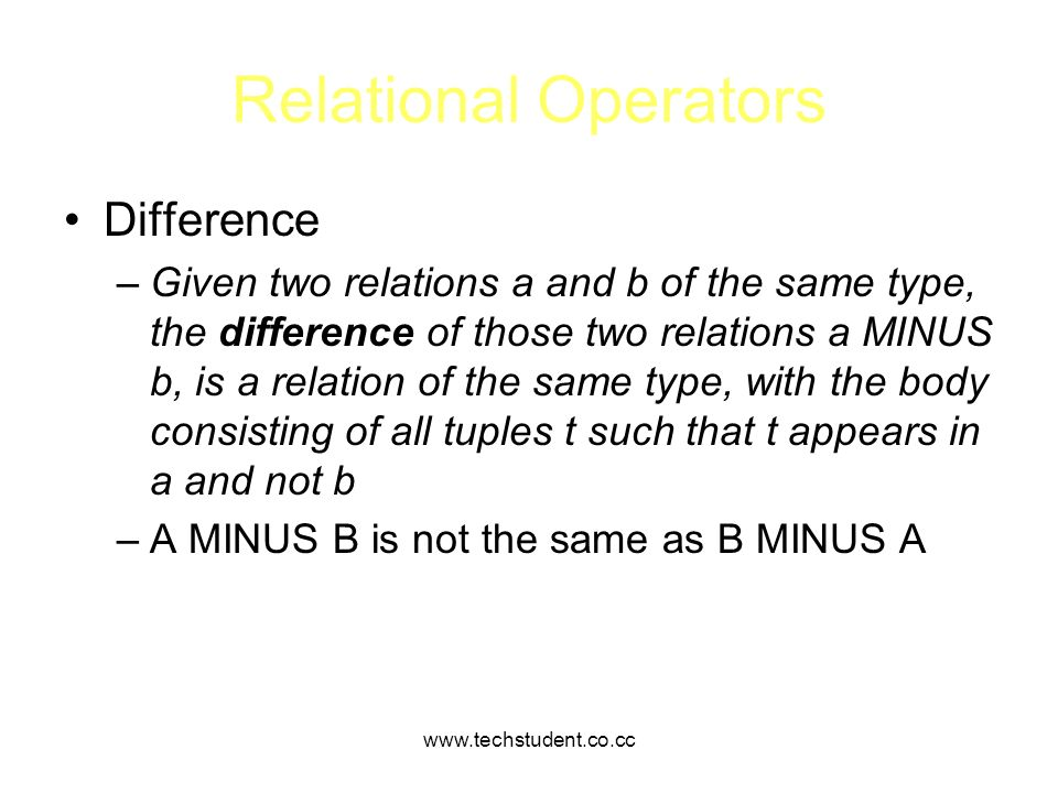 Relational Operators Difference