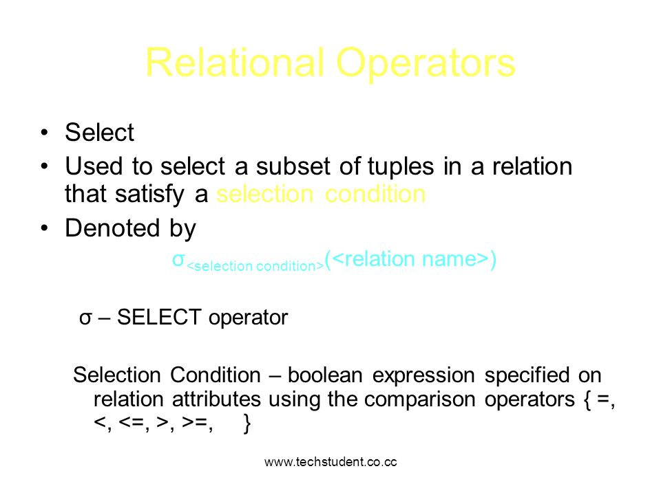 Relational Operators Select