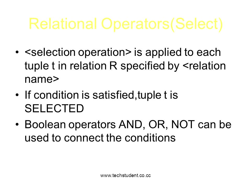 Relational Operators(Select)