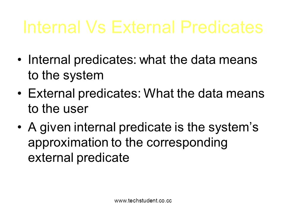 Internal Vs External Predicates