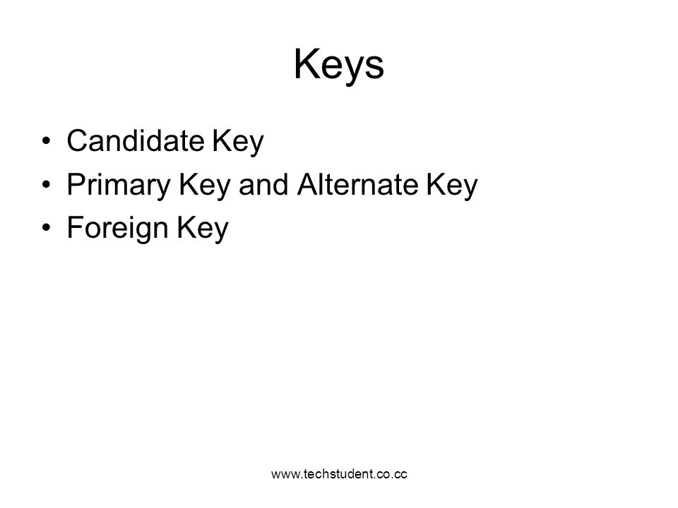 Keys Candidate Key Primary Key and Alternate Key Foreign Key