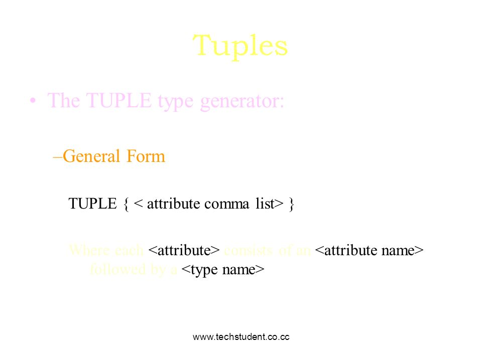 Tuples The TUPLE type generator: General Form