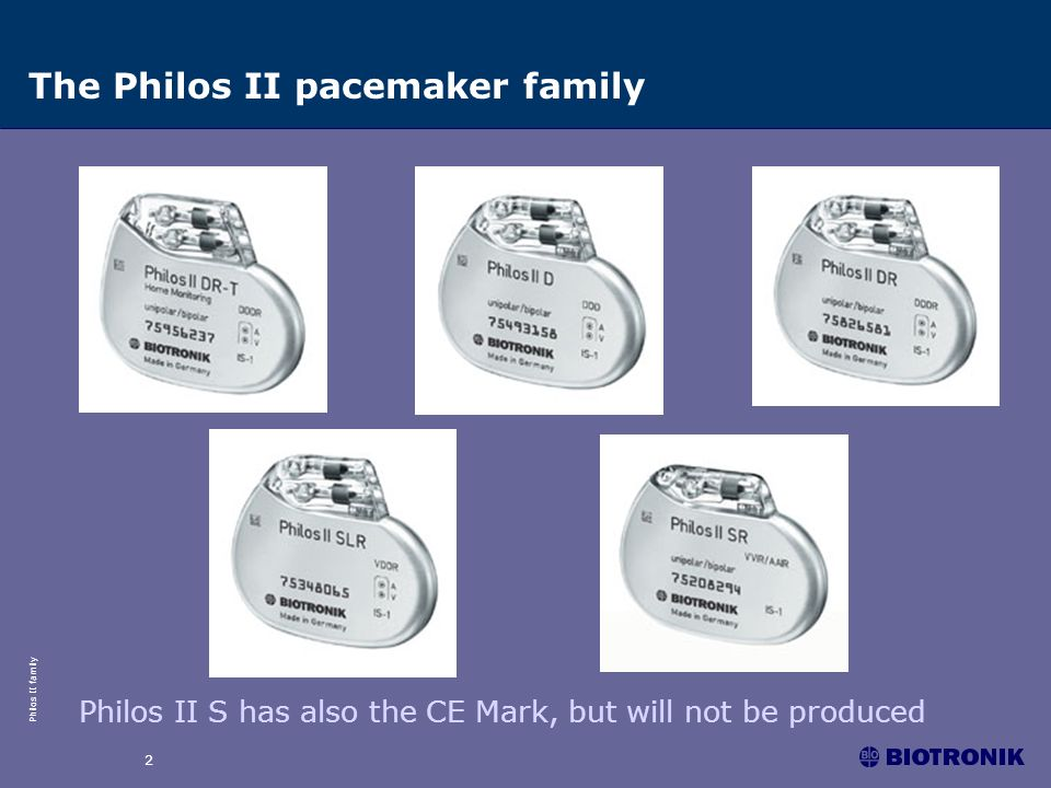 The Philos II pacemaker family