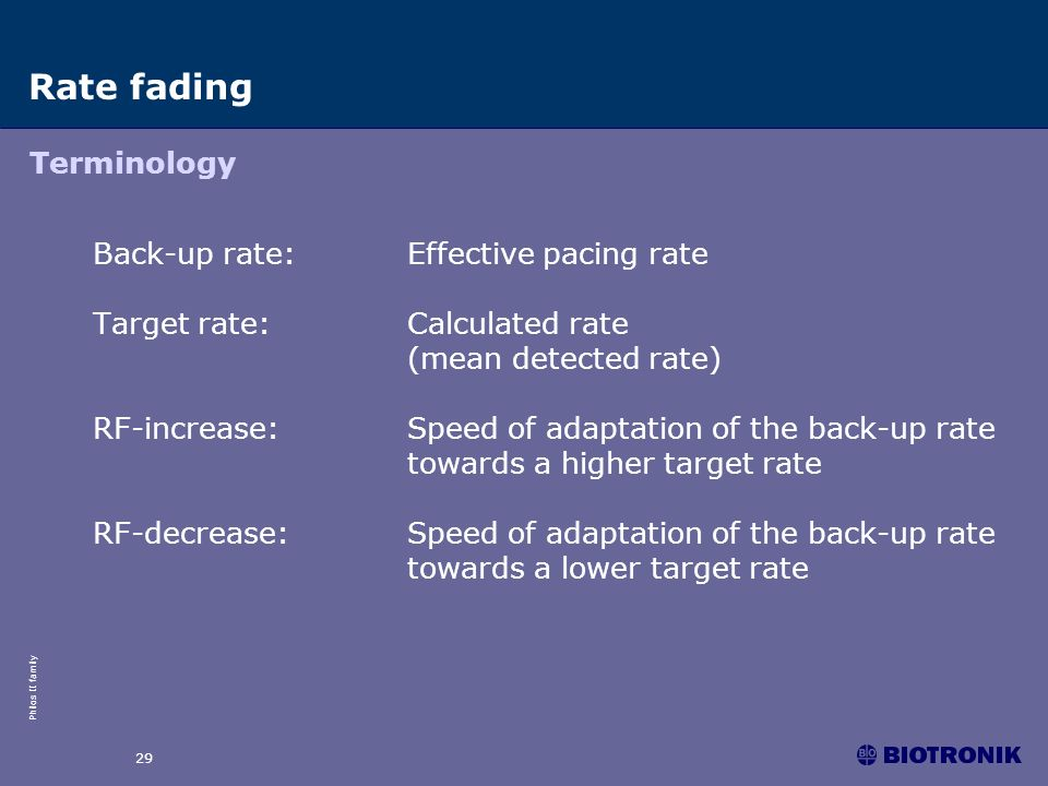 Rate fading Terminology Back-up rate: Effective pacing rate