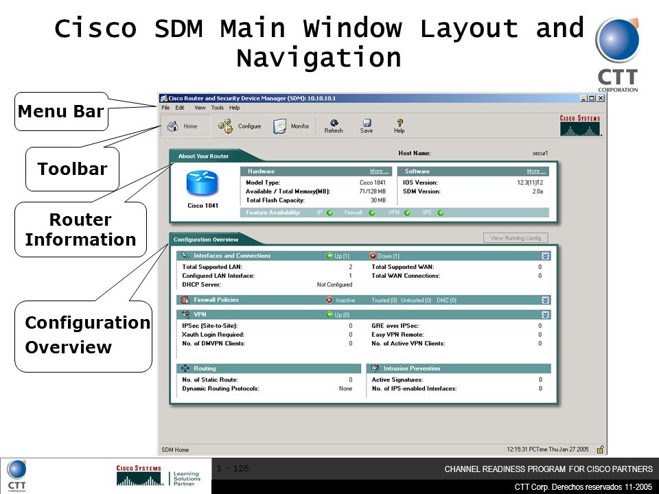Cisco SDM Main Window Layout and Navigation