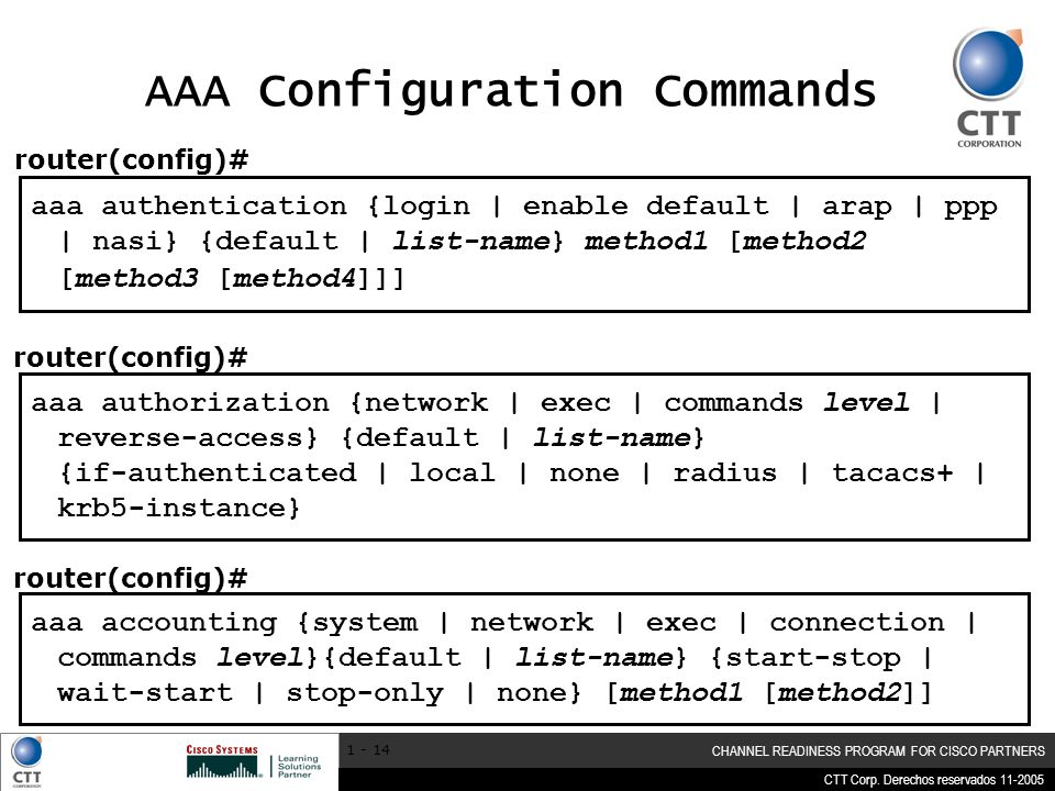 AAA Configuration Commands
