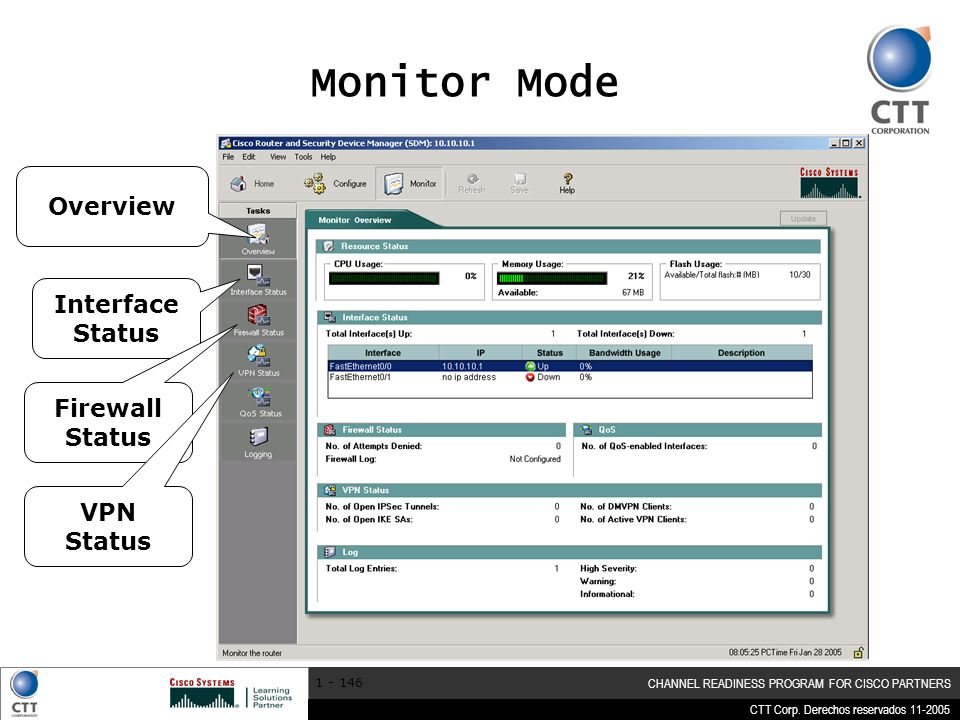 Monitor Mode Overview Interface Status Firewall Status VPN Status