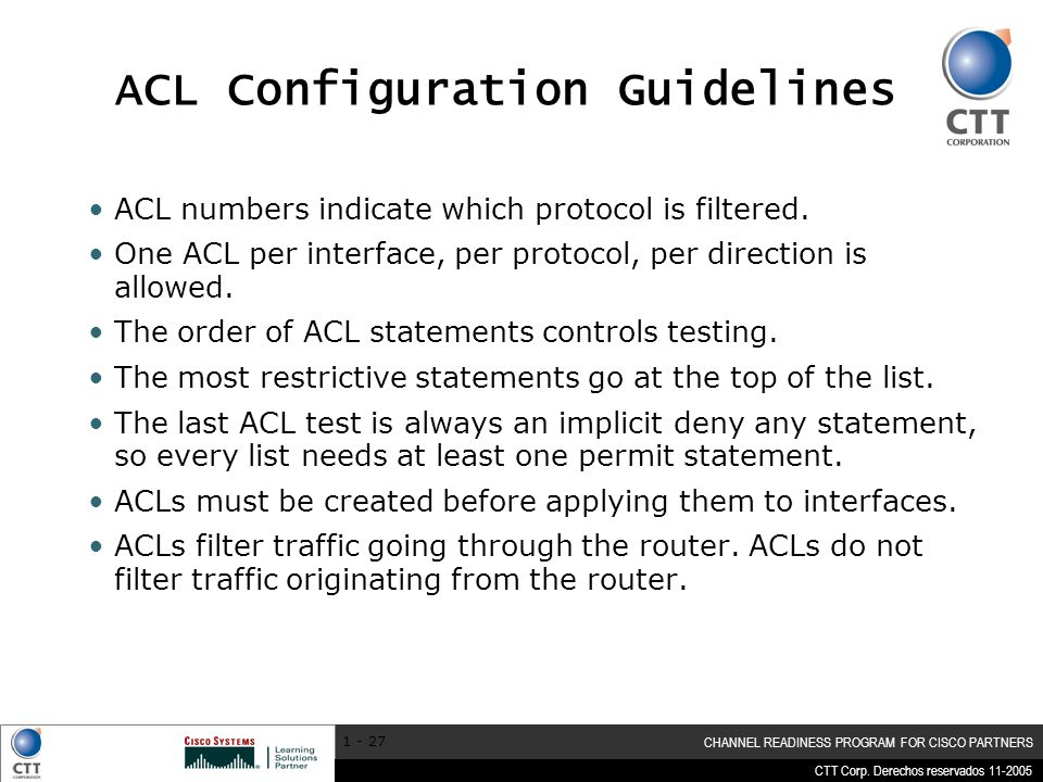 ACL Configuration Guidelines