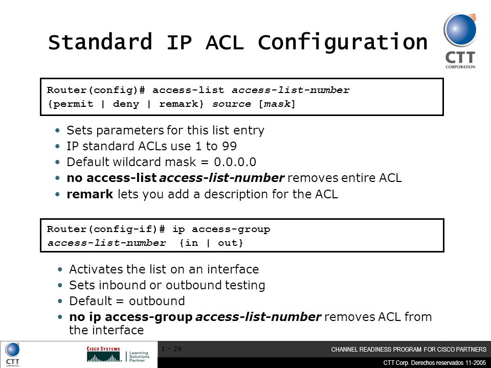 Standard IP ACL Configuration