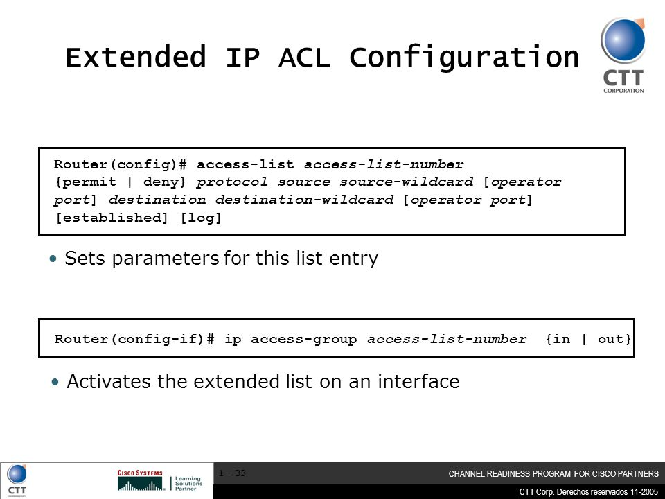 Extended IP ACL Configuration