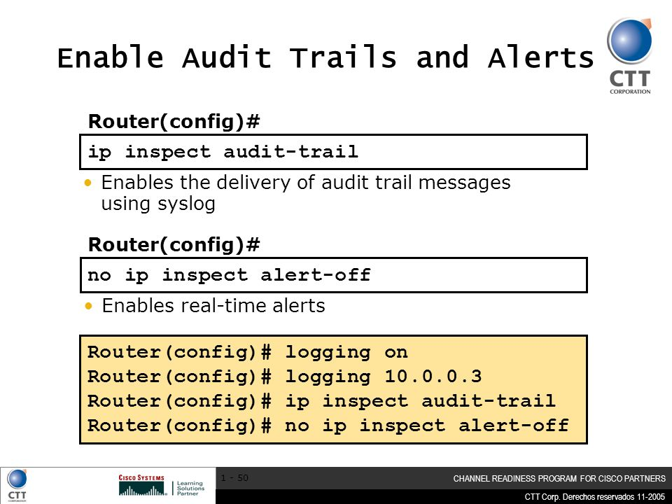 Enable Audit Trails and Alerts