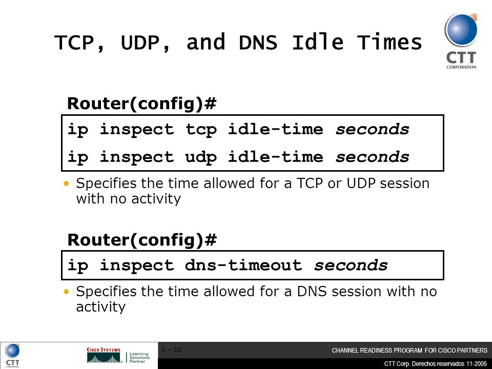 TCP, UDP, and DNS Idle Times