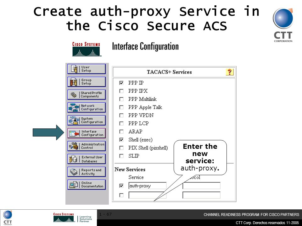 Create auth-proxy Service in the Cisco Secure ACS