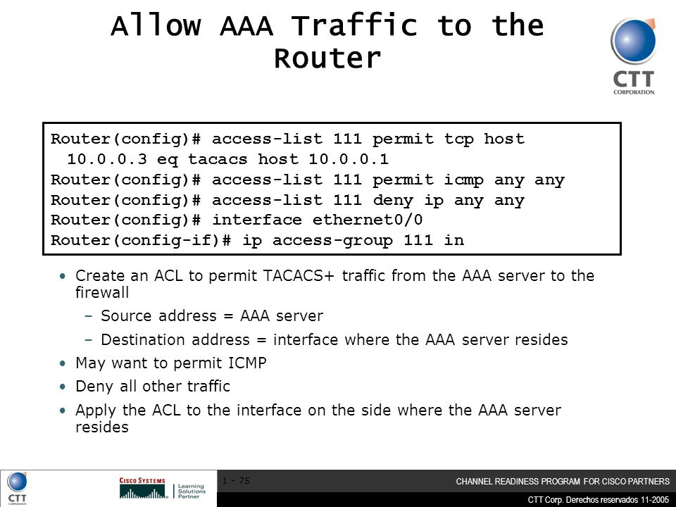 Allow AAA Traffic to the Router