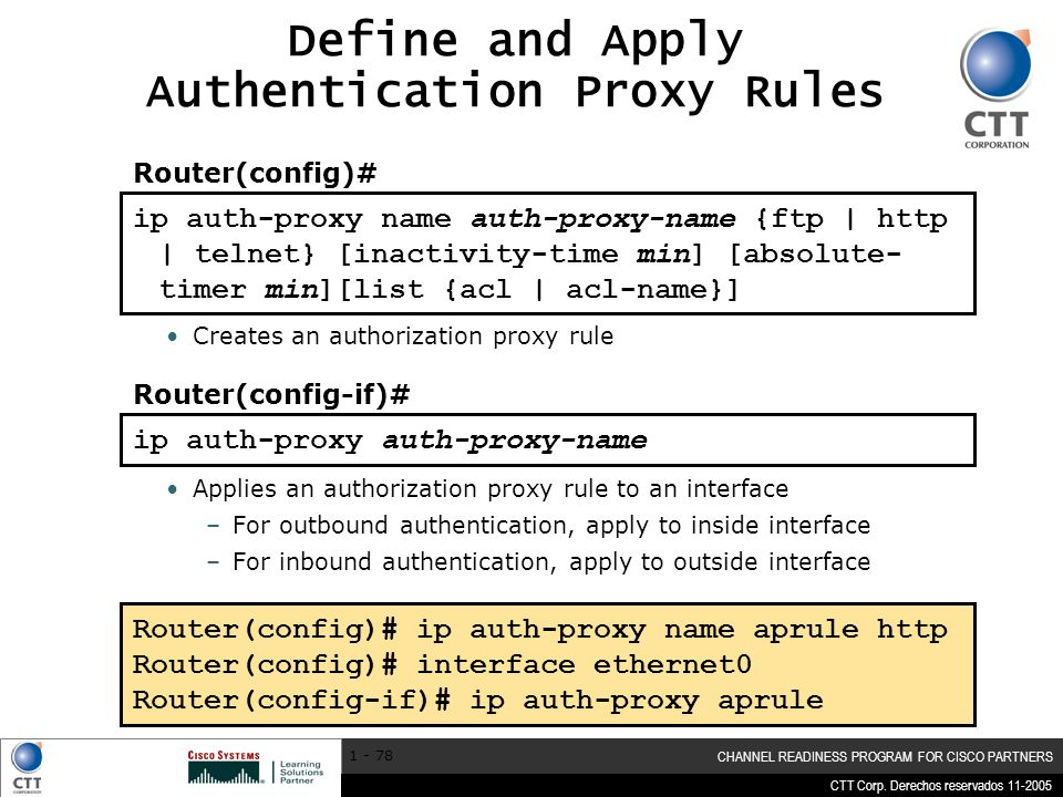 Define and Apply Authentication Proxy Rules