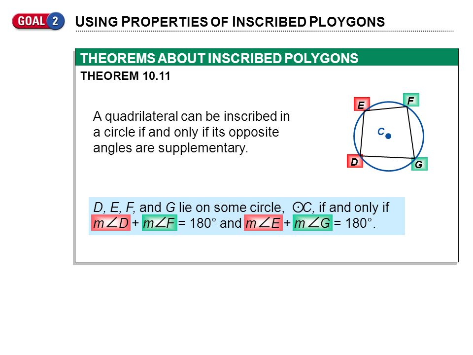 . USING PROPERTIES OF INSCRIBED PLOYGONS
