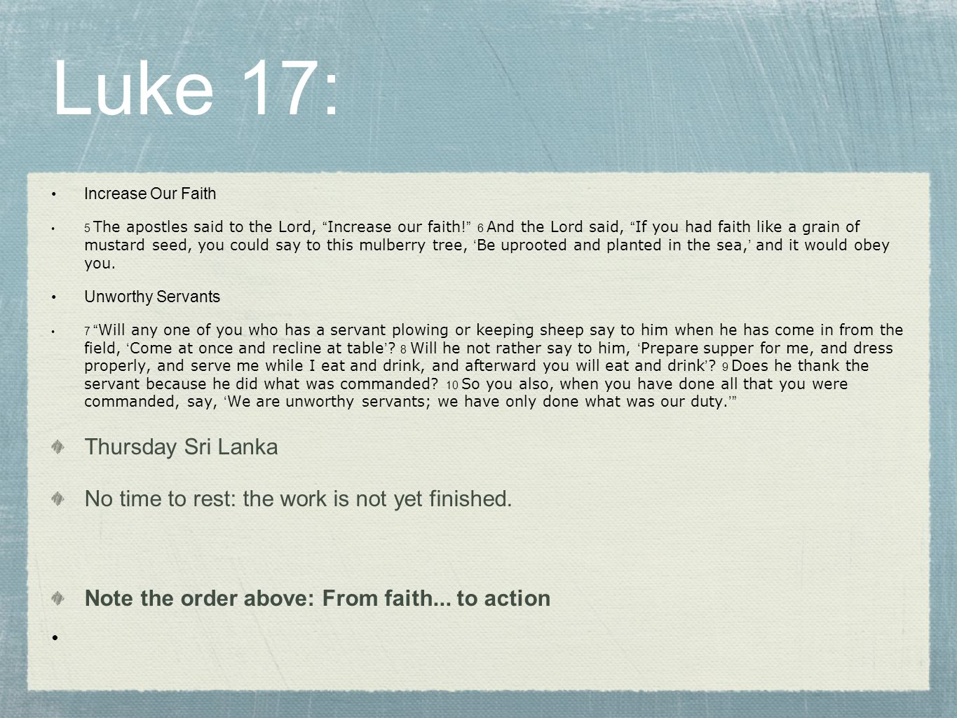 Luke 17: Thursday Sri Lanka