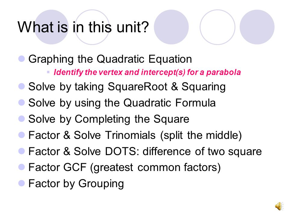 What is in this unit Graphing the Quadratic Equation