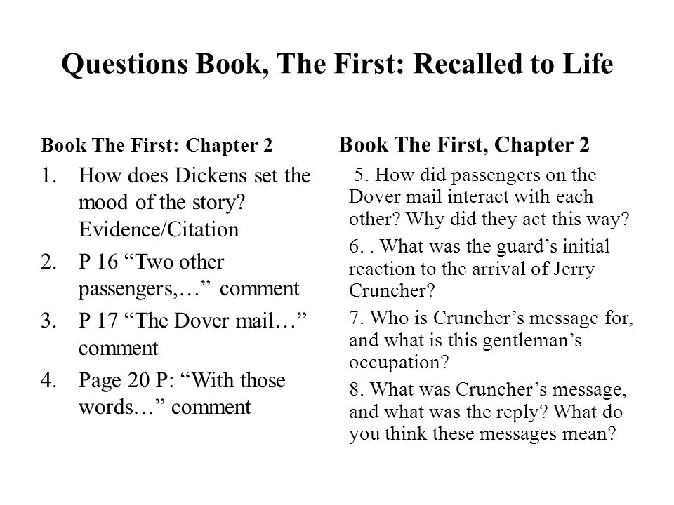 Questions Book The First Recalled To Life