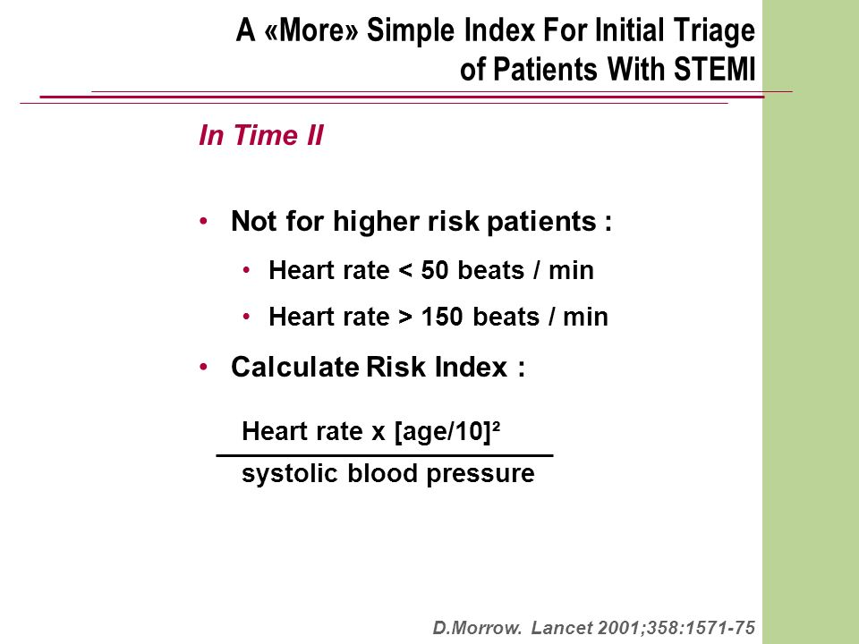 A «More» Simple Index For Initial Triage of Patients With STEMI