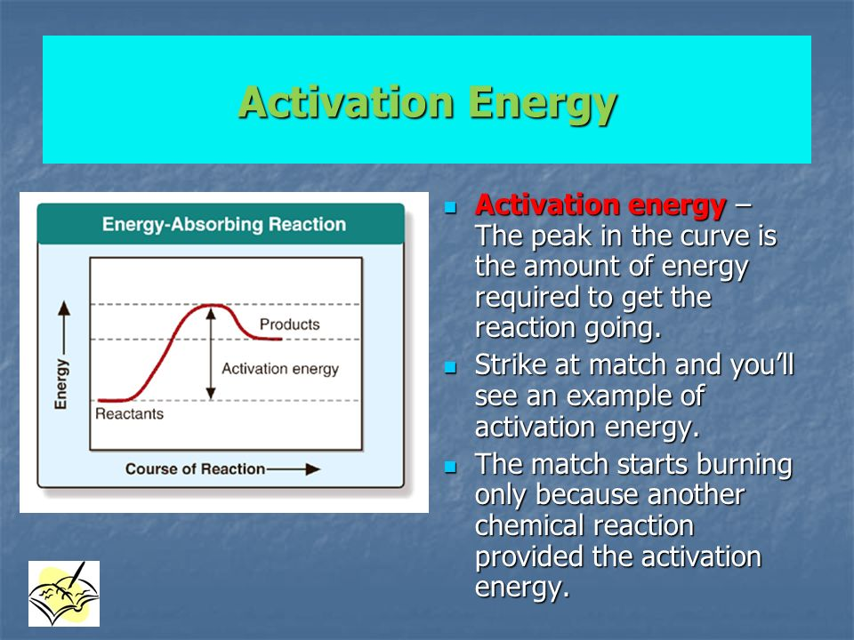 Activation Energy Activation energy – The peak in the curve is the amount of energy required to get the reaction going.