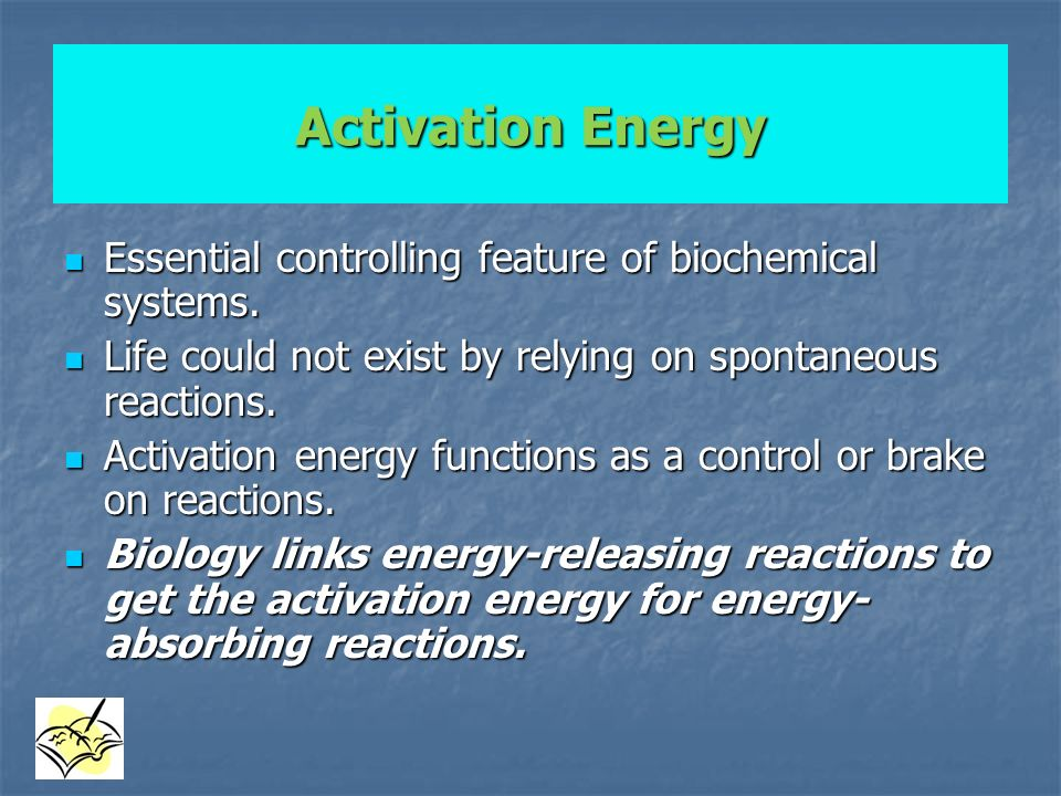 Activation Energy Essential controlling feature of biochemical systems. Life could not exist by relying on spontaneous reactions.