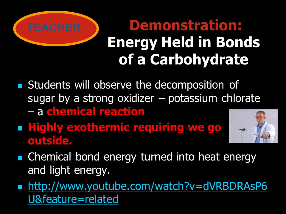 Demonstration: Energy Held in Bonds of a Carbohydrate