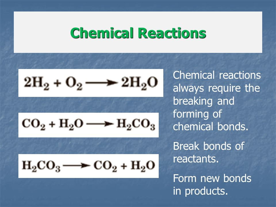 Chemical Reactions Chemical reactions always require the breaking and forming of chemical bonds. Break bonds of reactants.