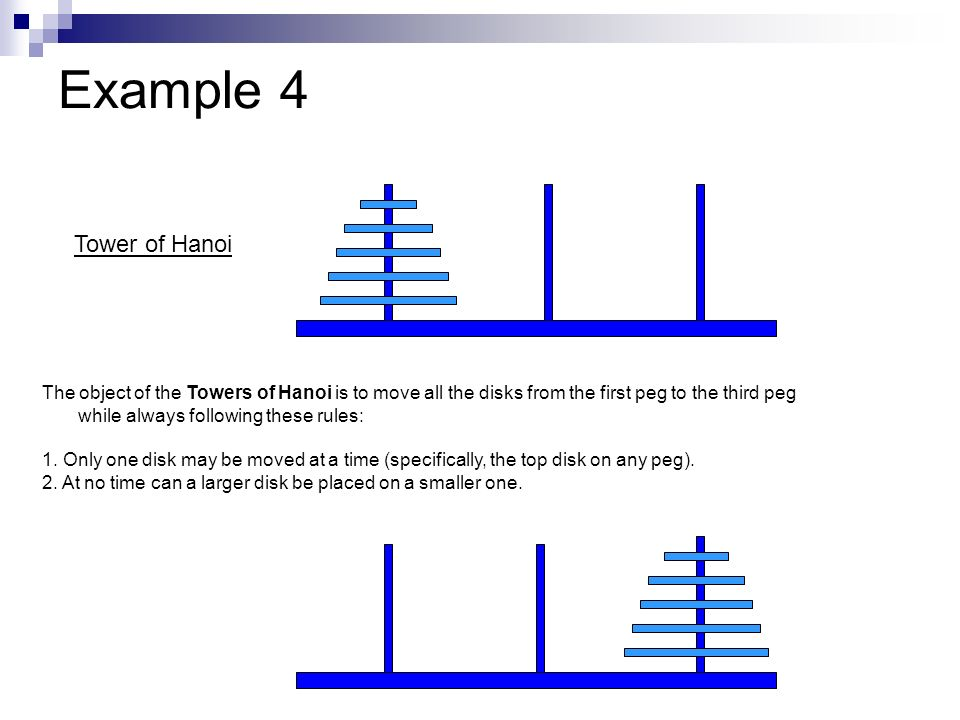 Example 4 Tower of Hanoi.