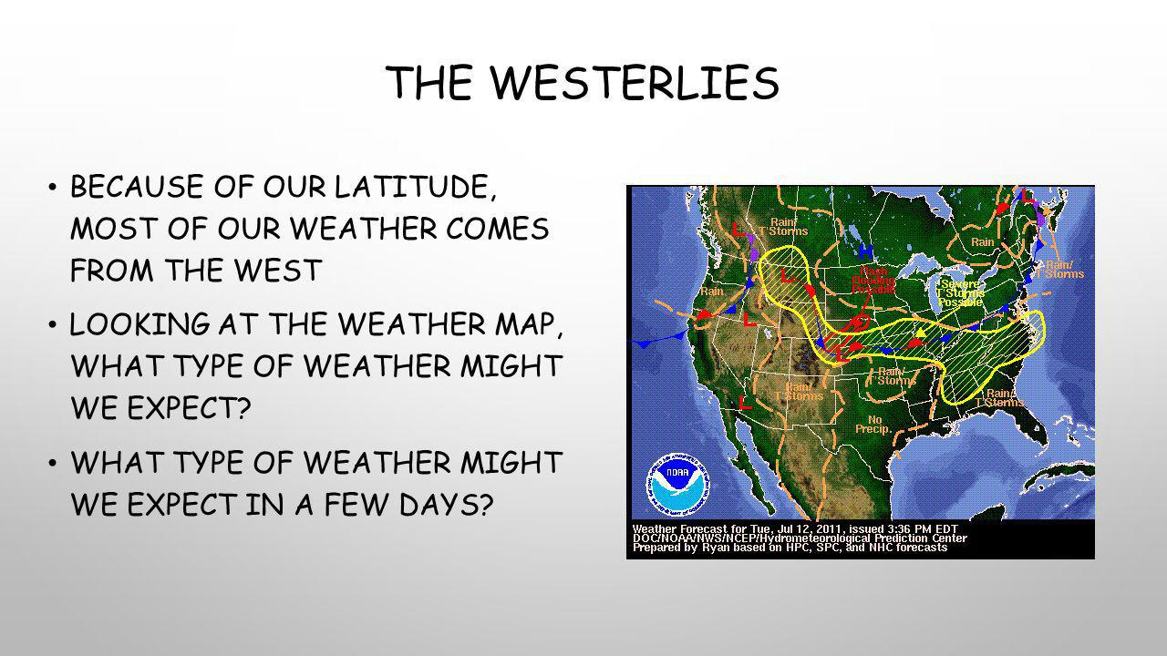 The Westerlies Because of our latitude, most of our weather comes from the west.