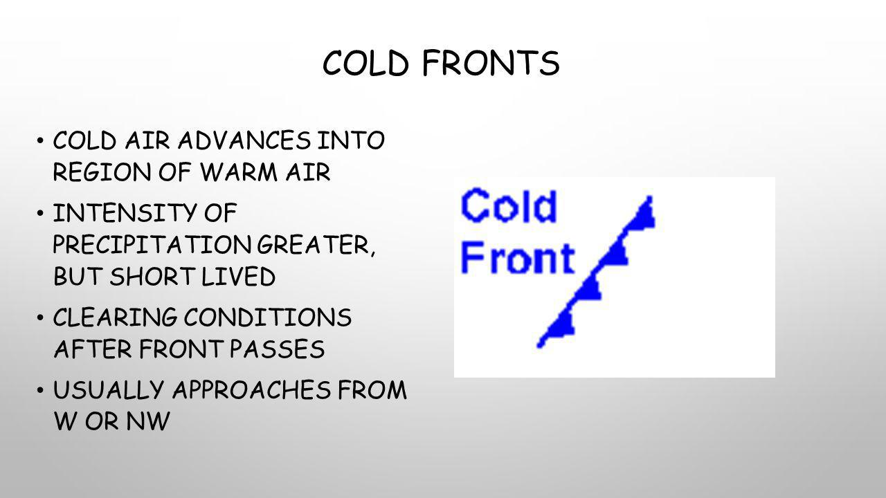 Cold Fronts Cold air advances into region of warm air