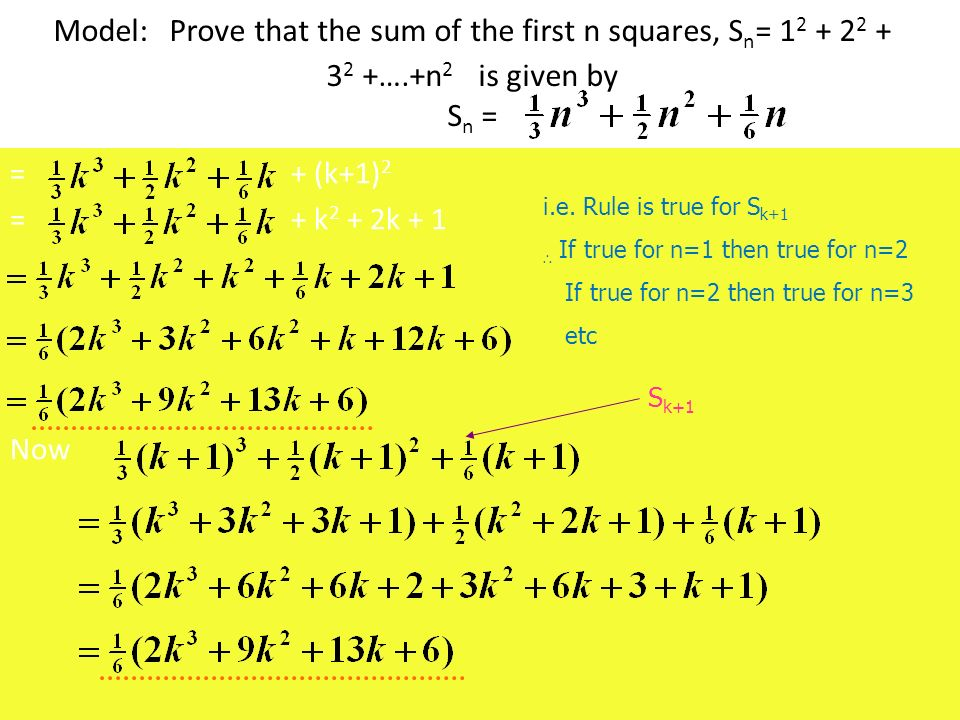 Model: Prove that the sum of the first n squares, Sn= 12 + 22 + 32 +…