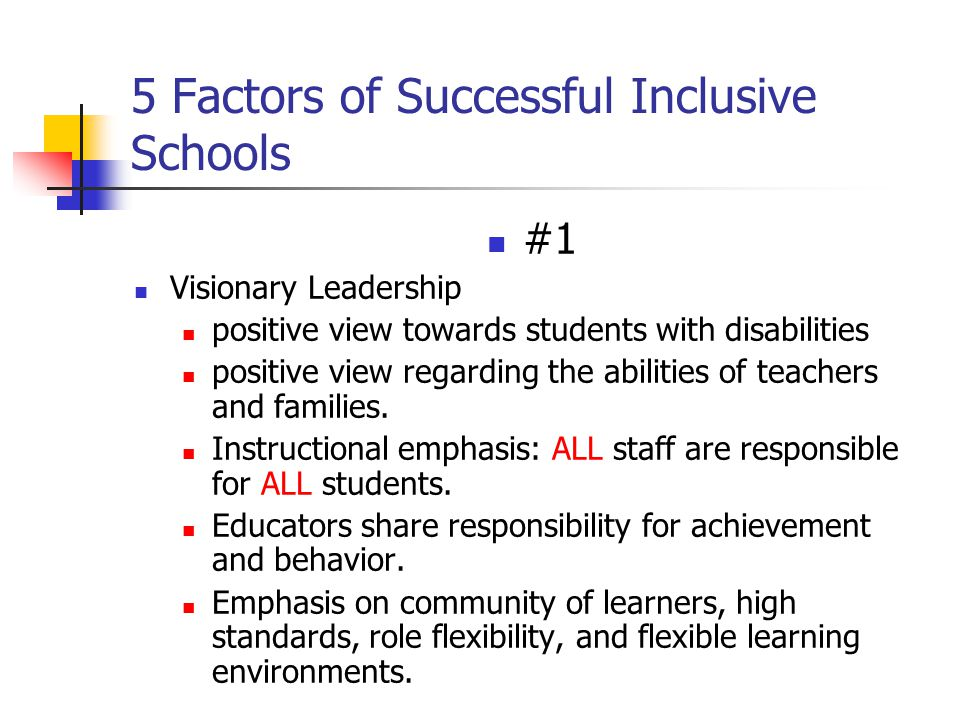 5 Factors of Successful Inclusive Schools