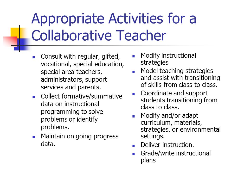 Appropriate Activities for a Collaborative Teacher